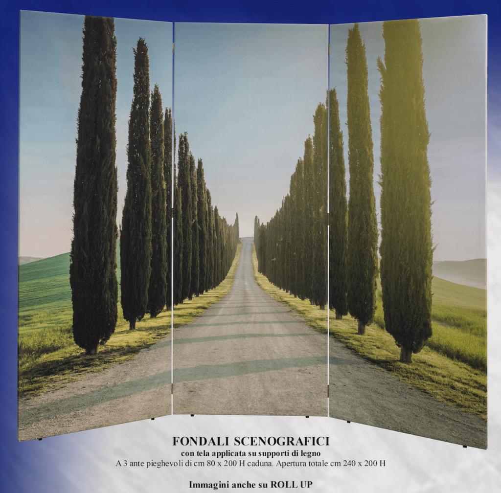 Occasione Usato Fondale scenografico con viale alberato di cipressi DIEMME Arredi Funebri Facelli